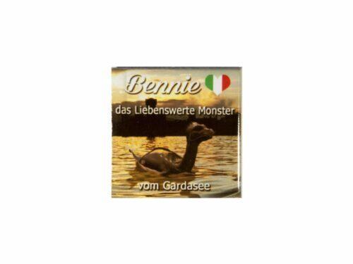 Small magnet with Bennie the lovable monster of lake Garda and sundown Bthemonster.com