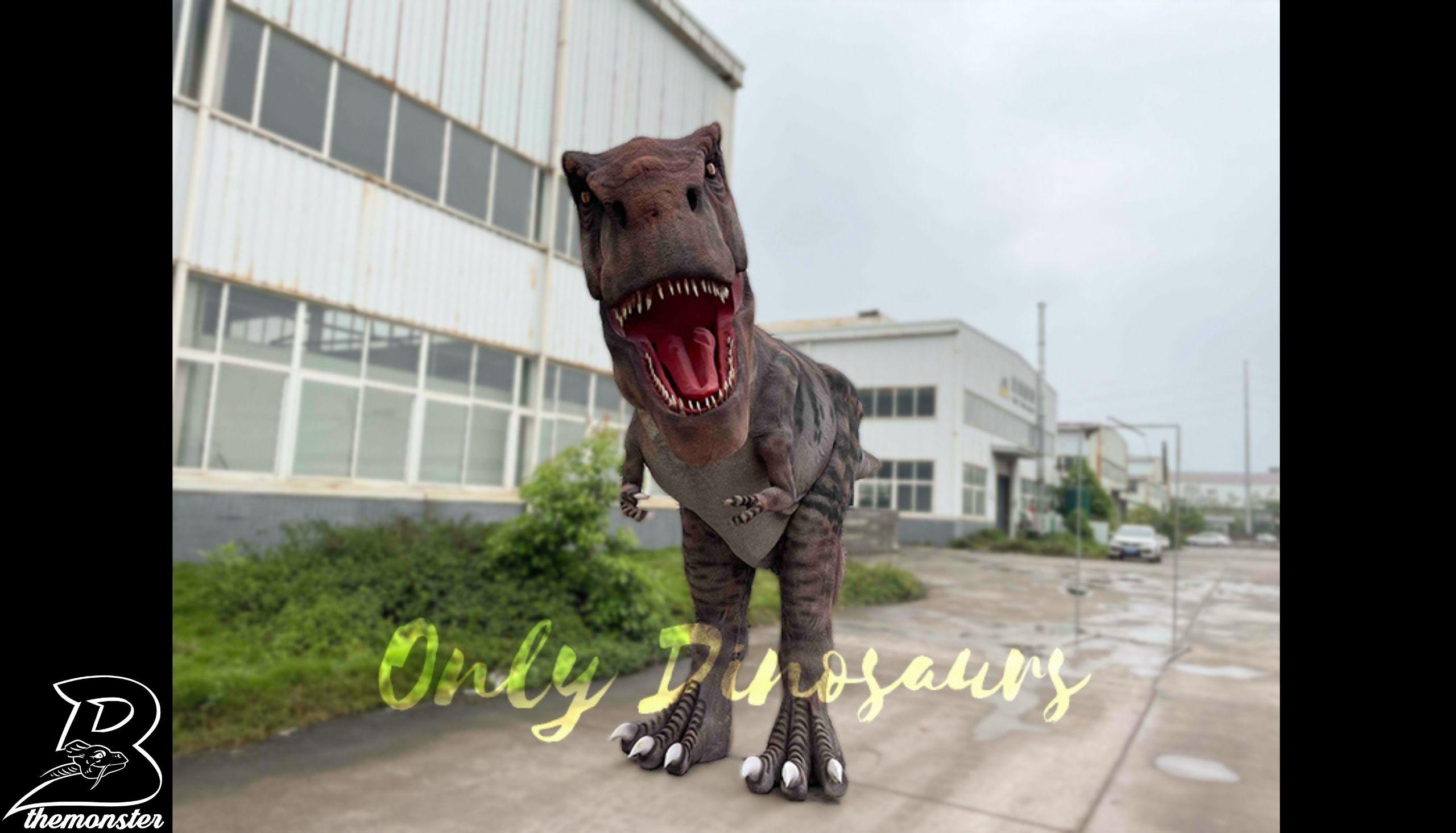 Lifesize Tyrannosaurus Rex Stilts Dinosaur Costume in vendita sul Bthemonster.com