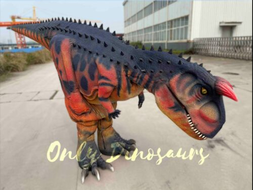 Realistic Carnotaurus Hidden Legs Red and Black Dinosaur Costume in vendita sul Bthemonster.com